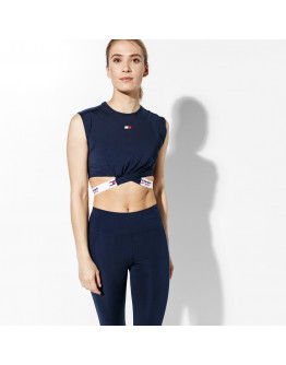 TOMMY SPORT TANK CROPPED T-SHIRT TWISTED DETAIL